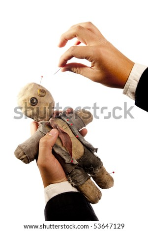 businessman making harm to coworker via voodoo on white - stock photo