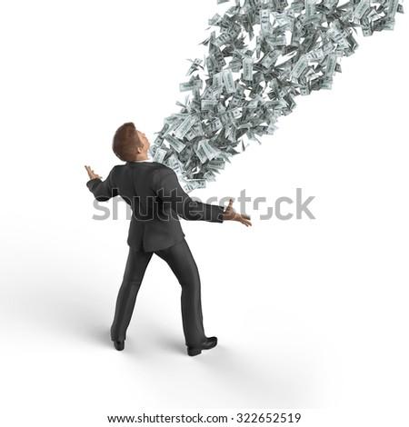 businessman making money - stock photo
