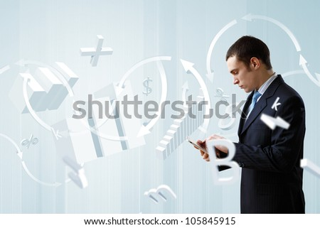 Businessman making presentation against modern technology background - stock photo