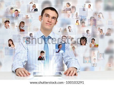 Businessman making presentation against social network bacjkground