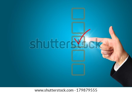 Businessman making right decision touching screen interface  - stock photo