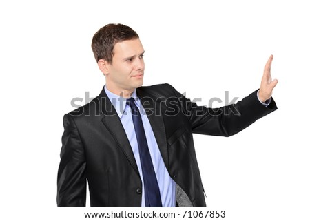 Businessman making stop sign isolated on white background