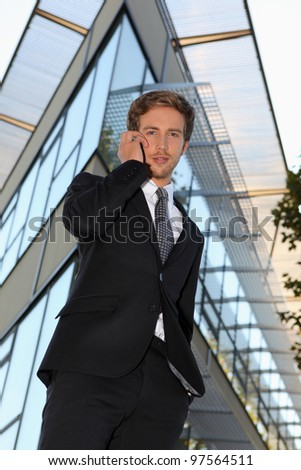 Businessman making telephone call - stock photo