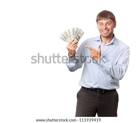 Businessman.Man indicate to money - stock photo