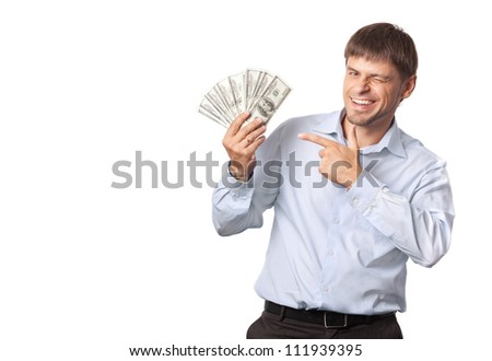 Businessman.Man winks and indicate to money - stock photo