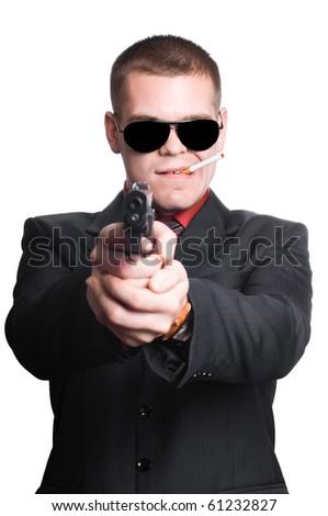 businessman man with gun - stock photo