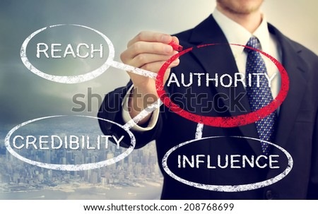 Businessman mapping out the sources of authority - stock photo