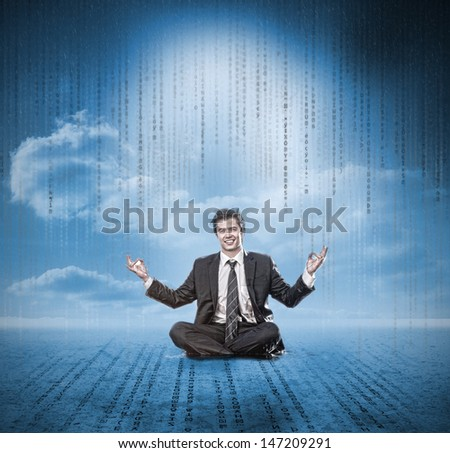 Businessman meditating and smiling with matrix - stock photo