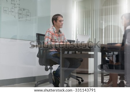 Businessman Meeting Room Interview Working Laptop Sitting Desk Casual Wear
