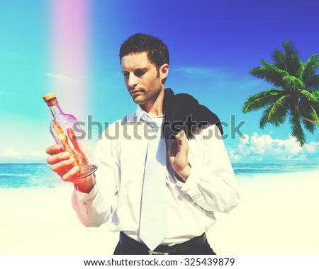 Businessman Message Bottle Letter Information Concept - stock photo