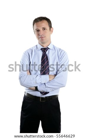 businessman middle age crossed arms tie - stock photo