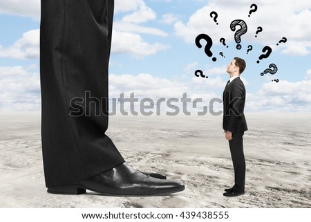 Businessman miniature with questions standing next to boss's feet and looking up at him. Landscape in the background. Mentoring concept