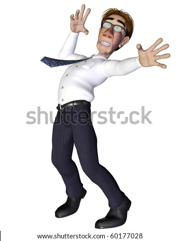 Businessman moving and dancing - stock photo