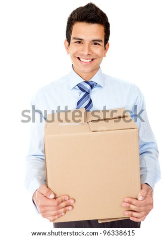 Businessman moving office holding a box - isolated over a white background - stock photo