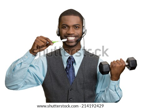 Businessman multitasking. Portrait corporate business man talking on phone, brushing teeth, lifting dumbbell isolated white background. Positive face expression, emotion. Phone addiction concept - stock photo