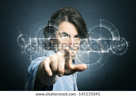 Businessman new technology concept - stock photo
