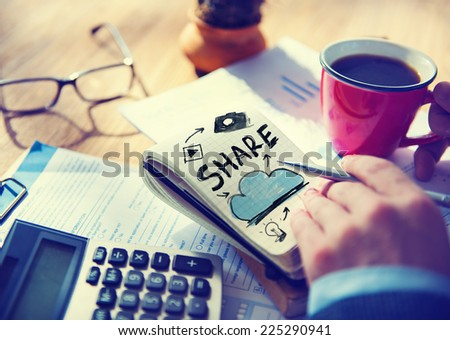 Businessman Notepad Cloud Computing Concept - stock photo