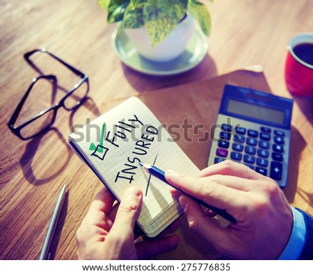 Businessman Notepad Fully Insured Concept - stock photo