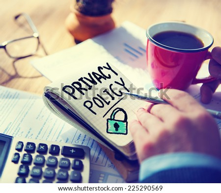 Businessman Notepad Privacy Policy Concept - stock photo