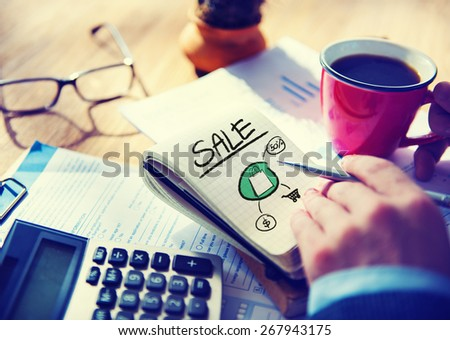 Businessman Notepad Sale Word Concept - stock photo