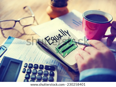 Businessman Notepad Word Equally Concept - stock photo