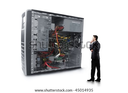 Businessman observing a pc case