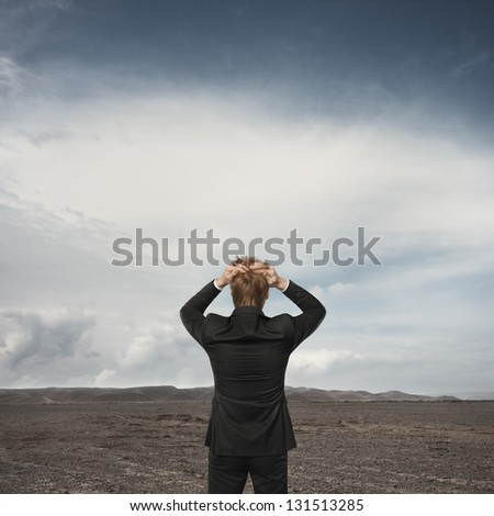 Businessman observing the desert landscape - stock photo