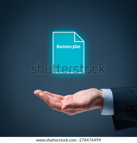 Businessman offer business plan. Businessman hold business plan represented by icon.