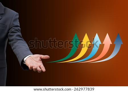 businessman offer sales preditction color arrow headline - stock photo