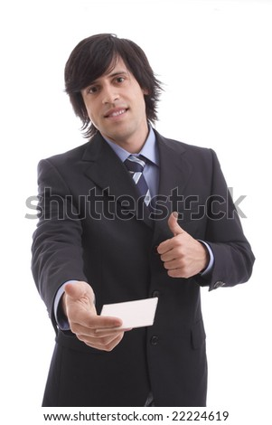 businessman offering businesscard over white background - focus on card