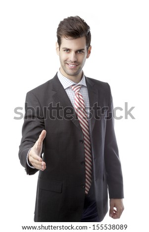 Businessman offering for handshake against white background - stock photo