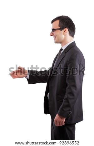 businessman offering his hand, isolated on white - stock photo