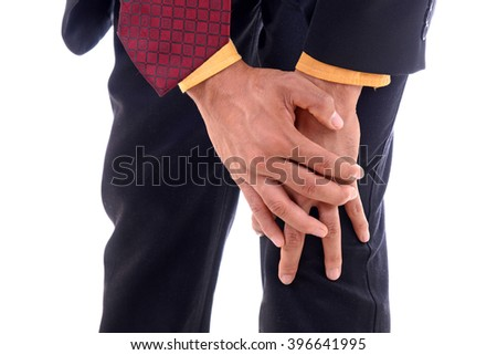 Businessman office man with knee pain