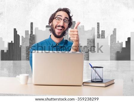 businessman okay gesture with laptop - stock photo