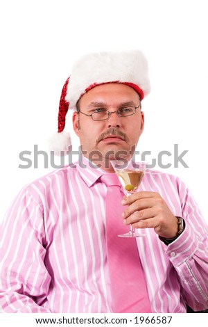 Businessman on a christmas party having had enough to drink