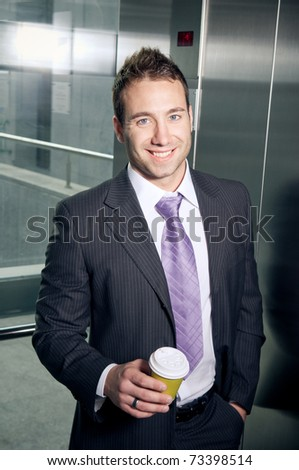 Businessman on a coffee break - stock photo