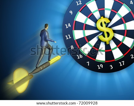 Businessman on a flying dart is hitting a board where the highest score is represented by a dollar. Digital illustration. - stock photo