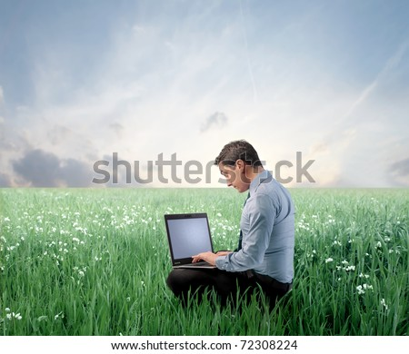 Businessman on a green meadow using a laptop - stock photo