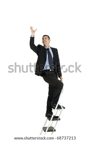 businessman on a ladder - stock photo