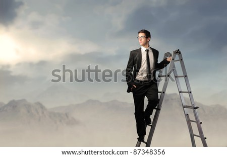 Businessman on a ladder and mountains in the background - stock photo