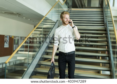 Businessman on a phone in the office