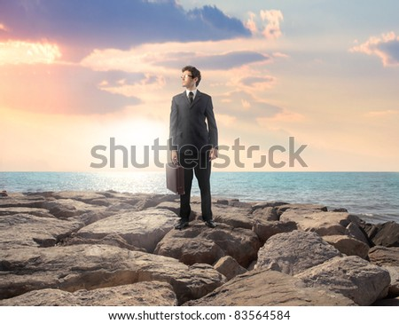 Businessman on a rock with seascape in the background - stock photo