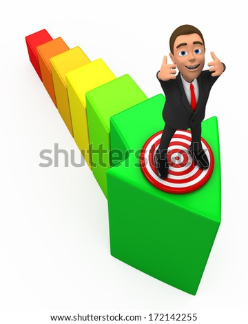 businessman on a two thumbs up rating - stock photo