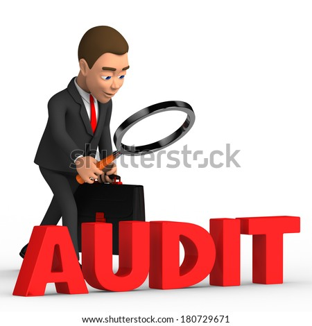 businessman on a white background analyzes audit - stock photo