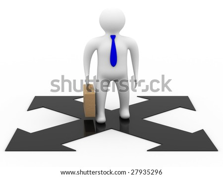businessman on a white background. Isolated 3D image. - stock photo