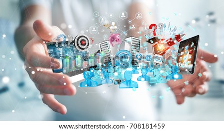 Businessman on blurred background connecting devices and business objects together 3D rendering