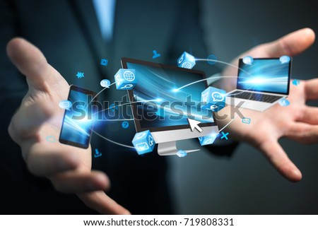 Businessman on blurred background holding manuscript project presentation with his hand