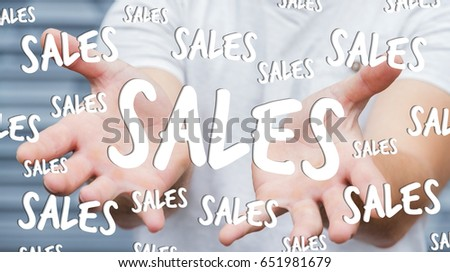 Businessman on blurred background holding sales icons in his hand 3D rendering
