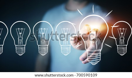 Businessman on blurred background touching a sketch lightbulb