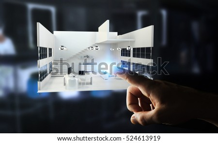 Businessman on blurred background touching white 3D rendering apartment with his finger